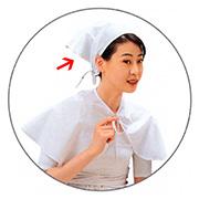 [유미가운] 학원용 스카프 (백색 - 삼각 머리 수건)